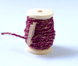 Burgandy and Gold Twine Spool - 20ft 8ply