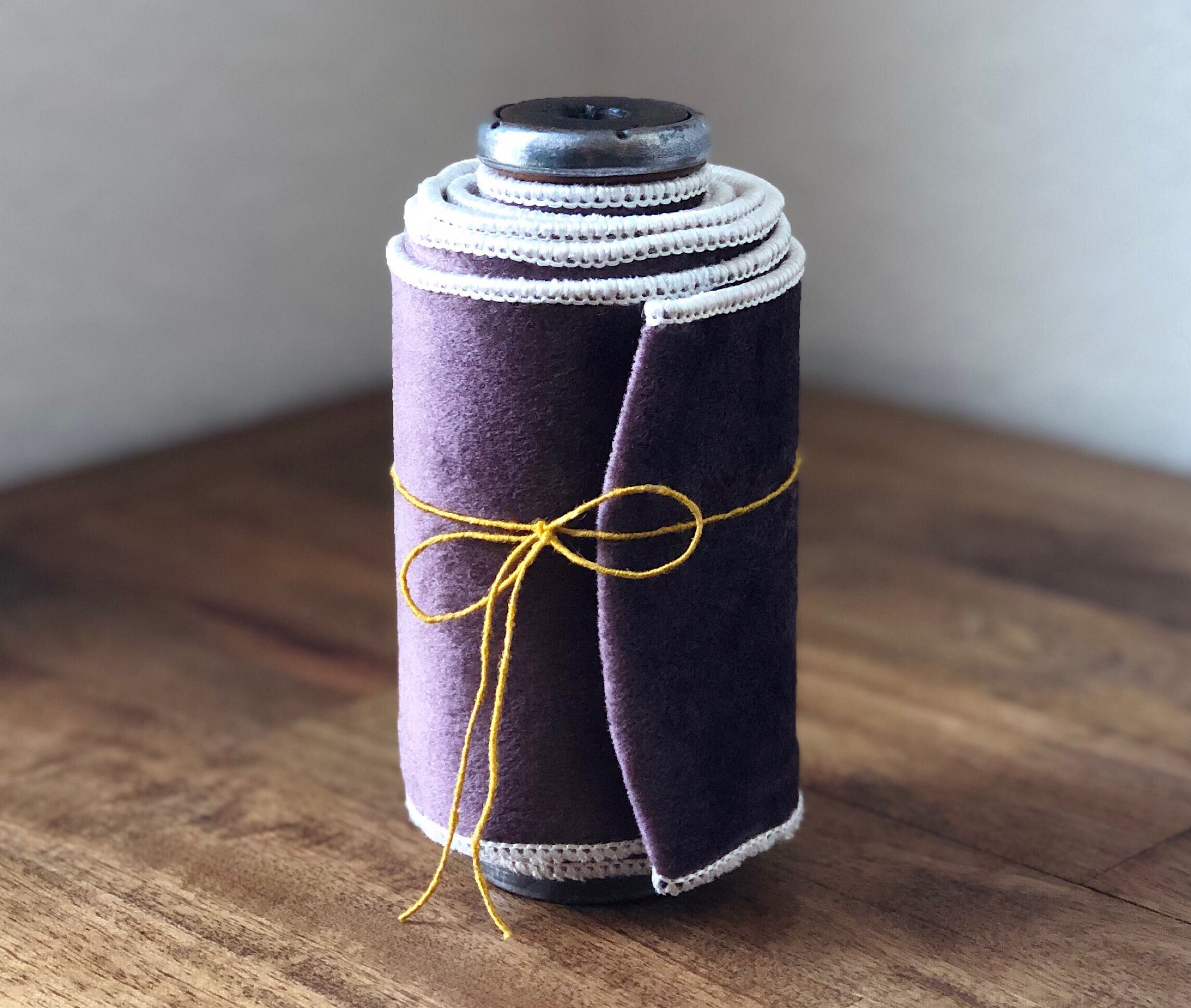 Wide Double Sided Velvet on a Vintage Spool ~ Grey/Purple & Oyster