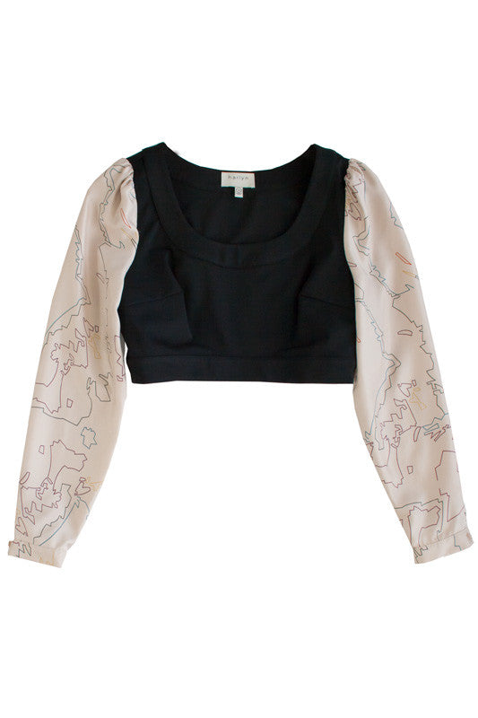 "<img src=""Harlyn-Label-Map-Print-Blush-Silk-Sleeve-Black-Crop-Top-Fall-Winter-2014-Grey-Parachutes-Flat-Product-Image-Front.jpg"" alt=""Harlyn Label Map Print Blush Silk Sleeve Black Crop Top Fall Winter 2014 Grey Parachutes Flat Product Image Front"">"