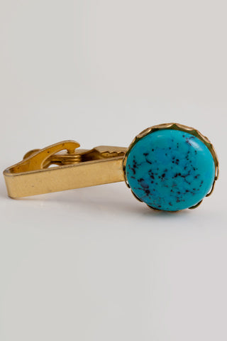 Vintage 1950 Turquoise Tie Bar and Scarf Clip