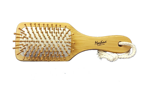 Bamboo Paddle Brush, Wood Bristles