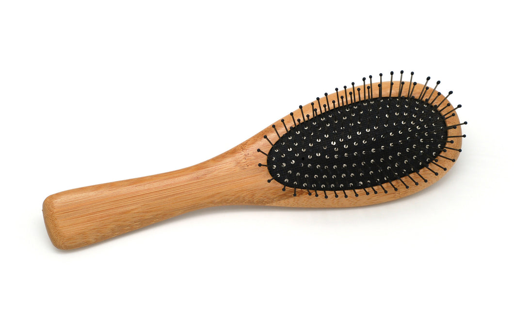 Bamboo Hair Brush with Metal Bristles