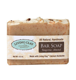 Living Clay Tangerine Almond Soap Bar, 4oz
