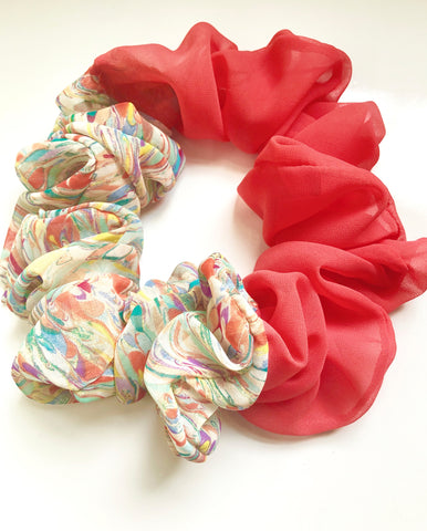 Iridescent Swirl Recycled Vintage Fabric JUMBO Scrunchy