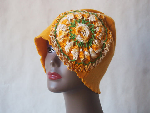Sunny, Happy, Golden Organic Fleece Cloche Hat by Maya's Ideas