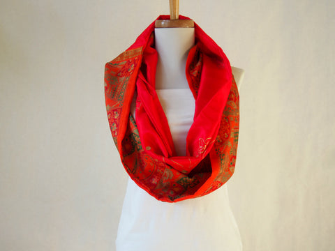 Majestic Red Kimono Print Artist Signature Silk Infinity Scarf by Maya's Ideas