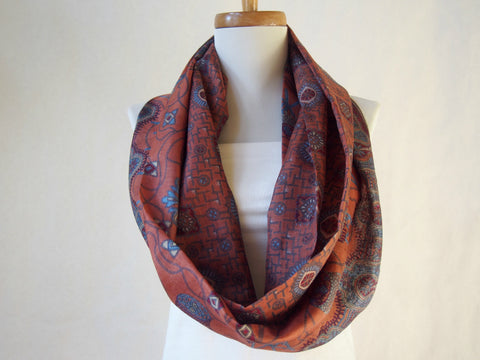 Unisex Brown and Blue Silk Infinity Scarf by Maya's Ideas