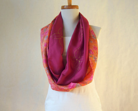 Dusty Rose Mauve Paradise Artist Signature Silk Infinity Scarf by Maya's Ideas