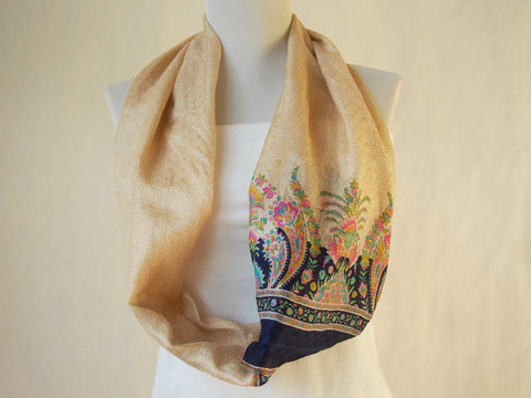 Paisley Botanical Ivory and Navy Crinkle Silk Infinity Scarf by Maya's Ideas