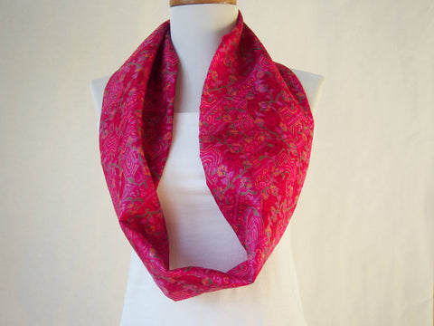 Fantastic Fucshia Silk Short Infinity Scarf by Maya's Ideas