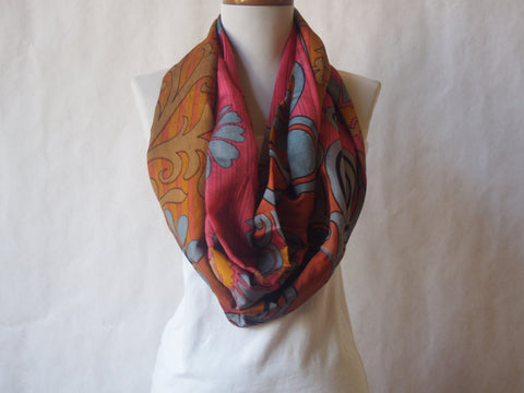 Gray Lotus Abstract Infinity Scarf by Maya's Ideas