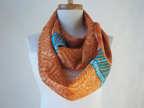Dark Orange and Turquoise Patterned Silk Infinity Scarf by Maya's Ideas