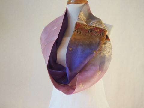 Ombre Lilac and Lavender Embroidered Silk Infinity Scarf by Maya's Ideas