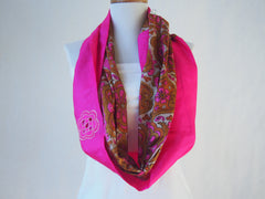 Opulent Pink Silk Infinity Scarf by Maya's Ideas