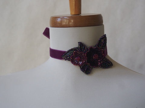 Burgundy Blossom Velvet Choker/Headband by Maya's Ideas