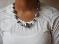 Asian Inspired Silver and Glass Floral Bead Necklace