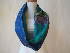 Regalia Blue and GreenSilk Infinity Scarf by Maya's Ideas