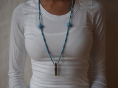 Turquoise Blue Glass and Rainbow Sea Jasper Necklace by Maya's Ideas