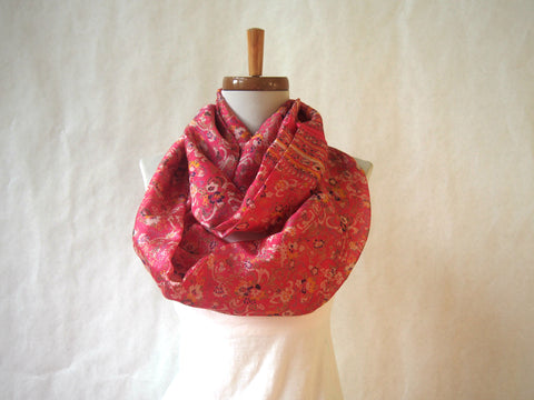 Pink Spring Silk Floral Infinity Scarf by Maya's Ideas