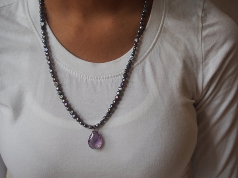 Amethyst and Tahitian Pearl Necklace