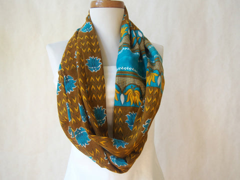 Lotus Paradise Eco Friendly Cotton Infinity Scarf by Maya's Ideas