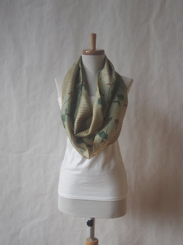 Green and Brown Tan Silk Infinity Scarf by Maya's Ideas