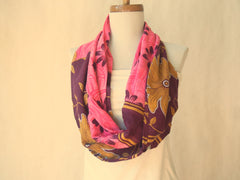 Pink and Burgundy Floral Cotton Infinity Scarf By Maya's Ideas