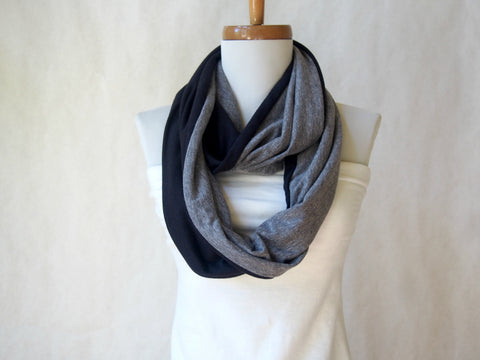 Eco Friendly Black and Gray Infinity Scarf By Maya's Ideas