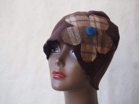 Eco Friendly Brown Cloche with Vintage Plaid Flower by Maya's Ideas
