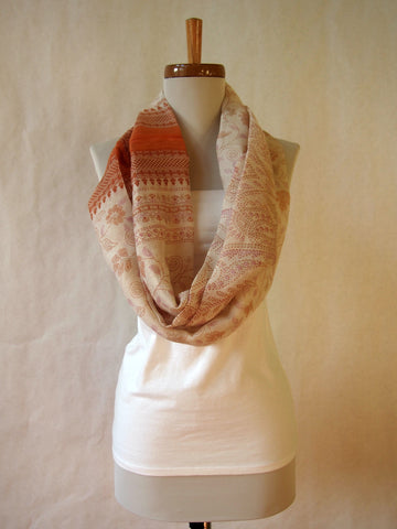 Coral and Ivory Cotton Gauze Infinity Scarf by Maya's Ideas