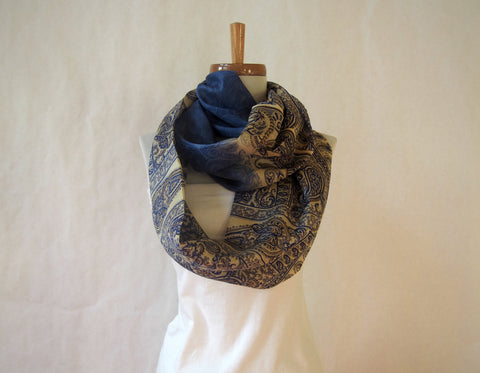 Navy and Ivory Paisley Silk Infinity Scarf by Maya's Ideas
