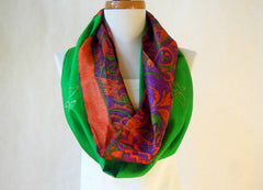 Burnt Orange and Emerald Green Artist Signature Silk Infinity Scarf By Maya's Ideas