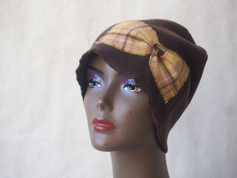 Eco Friendly Brown Cloche with Butterscotch Plaid Flower by Maya's Ideas