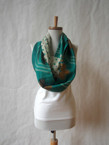 Eco Friendly Teal and Polka Dot Cotton Gauze Voile Infinity Scarf by Maya's Ideas