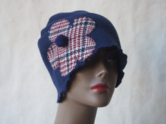 Navy Blue Eco-Friendly Cloche Hat with Plaid Flower by Maya's Ideas