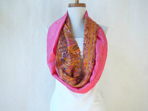 Tangerine Paisley and Hot Pink Artist Signature Silk Infinity Scarf By Maya's Ideas