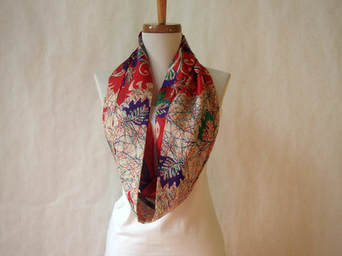 Cardinal Red Multicolor Silk Kimono Print Infinity Scarf by Maya's Ideas