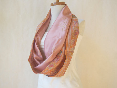 Peach Bouquet and Pale Rose Artist Signature Silk Infinity Scarf By Maya's Ideas