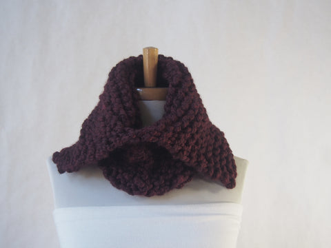 Chunky Burgundy Hand Knit Split Collar Cowl-UNISEX by Maya's Ideas