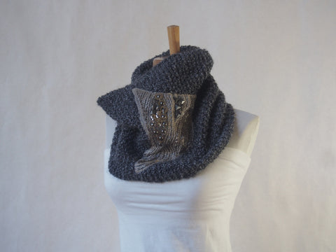 Grey Mist Embroidered Mixed Media Vegan Cowl-Unisex By Maya's Ideas