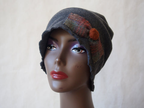 Eco Friendly Gray Fleece Cloche Hat by Maya's Ideas