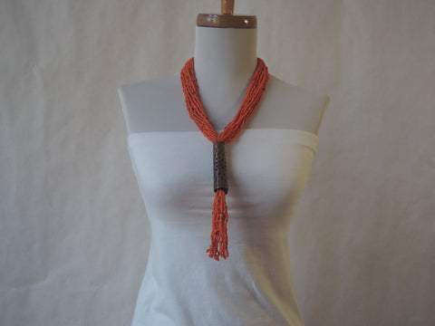 Eco Friendly Orange Seed Bead and Wood Necklace