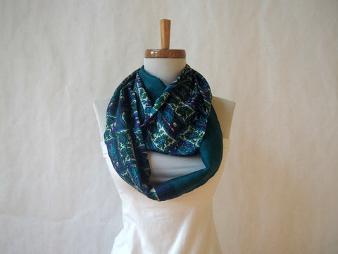 Dark Teal Textured Floral Silk Infinity Scarf by Maya's Ideas