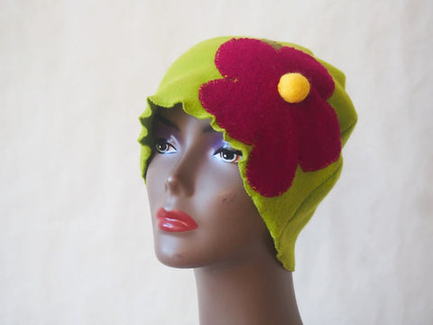 Raspberry and Lime Fleece Eco Friendly Cloche by Maya's Ideas