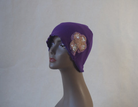 Perfect Purple Organic Fleece Cloche Hat by Maya's Ideas