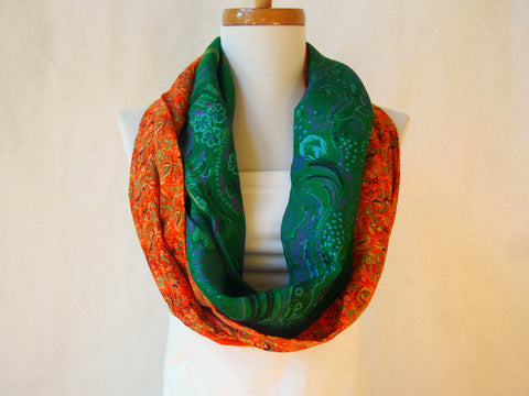 Emerald Waves Artist Signature Silk Infinity Scarf By Maya's Ideas