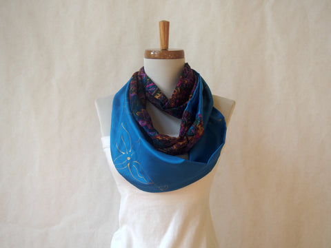 Jewel Box Turquoise Silk Hand Painted Infinity Scarf by Maya's Ideas
