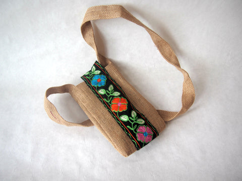 Eco Friendly Embroidered Paneled Organic Burlap Mini Cross Body Bag by Maya's Ideas