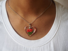 Real Flower Recycled Acrylic Pendant Necklaces