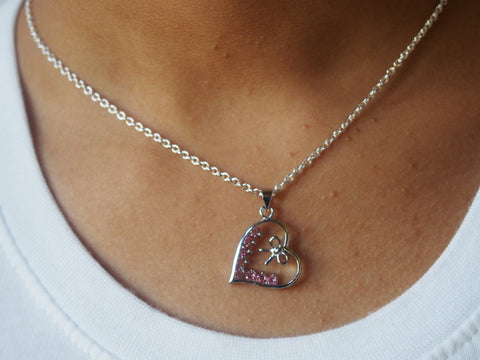 Rhinestone Heart Bow Necklace